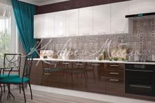 Модульная кухня Люкс (3.4м Ваниль глянец/Шоколад глянец)