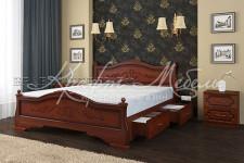 Кровать Карина-1 с ящиками (орех,разные размеры) массив