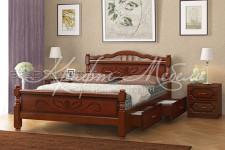 Кровать Карина-5 с ящиками (орех, 0,9;1,2;1,4;1,6 м) массив