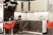Кухня Честер угловая (1.2*2.0 м) со стеклом ВВР (шампань софт/софт грей)