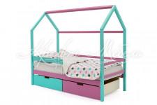 Детская кровать-домик Svogen мятный-лаванда