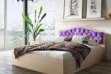 Кровать Дели с мягким изголовьем (1600*2000,велюр сирень стразы) Тэкс