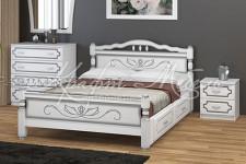 Кровать Карина-5 с ящиками (белый жемчуг, 0,9;1,2;1,4;1,6 м) массив