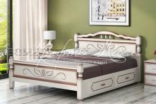 Кровать Карина-5 с ящиками (дуб молочный, 0,9;1,2;1,4;1,6 м) массив