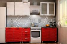 Кухня Шарлотта красный страйп (1.5м/2.0м со стеклом) ВВР