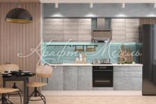 Модульная кухня Полонез (Ясень Рикон) Лофт (камень Оленна) 2.8 м