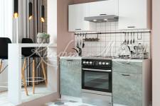 Кухня Дуся 1,6 м (Белый бриллиант / Цемент )