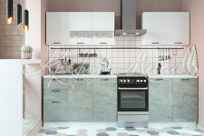 Кухня Дуся 2.0 м (Белый бриллиант / Цемент )
