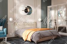 Кровать Мирти с мягким изголовьем (ясень шимо светл/ваниль)