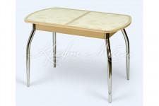 Стол раздвижной Гоа-1(110*70/142*70)дуб молочный/кремовое стекло/светлый лист,опора хром