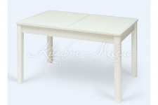 Стол Рио-1 раздвижной (стекло),1100 (420)*700,белый/белый/кайман
