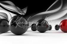 Фартук для кухни ABS Абстракция 50 Черные красные шары