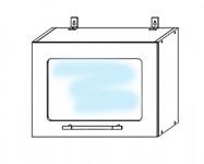 ВПГC500 Шкаф верхний горизонтальный высокий со стеклом Лофт
