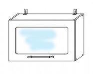 ВПГС600 Шкаф верхний горизонтальный высокий со стеклом Лофт