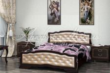Кровать Карина-10, массив (орех темный/светлая экокожа)1,4м